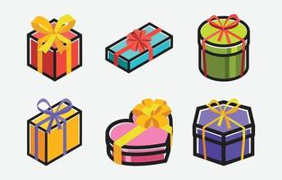 Colorful Gift Box Icons vector