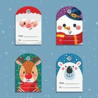 etiquetas de regalo de navidad con lindos personajes de dibujos animados vector
