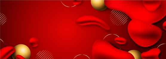 Red and Gold Liquid Long Banner Background vector