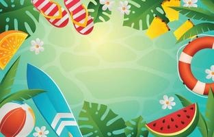 Summer Elements Background in Gradient Style vector