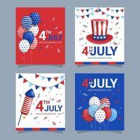 4 de julio colección de tarjetas de felicitación. vector