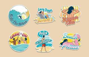colección de pegatinas de playa de verano vector