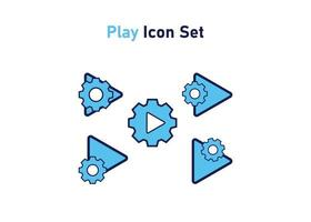 Icon set with play button symbol. Concept of multimedia setting. Vector illustration, vector icon concept.