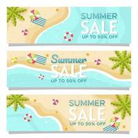conjunto de banner de venta de verano vector