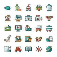 conjunto de iconos de cuarentena con estilo de color de contorno. vector