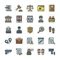 conjunto de iconos de justicia y derecho con estilo de color de contorno. vector