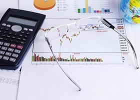 Close up of Eyeglass on Stock chart and calculator for finance concept photo