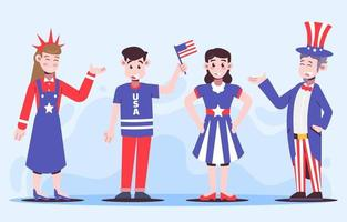 4th of July Character Collection vector