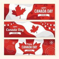 feliz día de canadá banner set vector