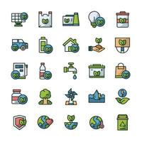 Set of Eco Green icons with outline color style. vector