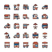 Set of Stand food icons with outline color style. vector