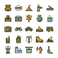 Set of Hiking Camping icons with outline color style. vector