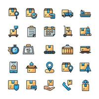 Set of Shipping icons with outline color style vector