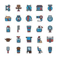 Set of Barbershop icons with outline color style. vector