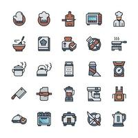 Set of Cooking icons with outline color style. vector