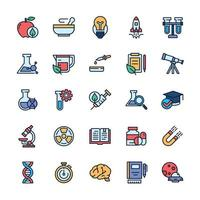 Set of Science icons with outline color style. vector