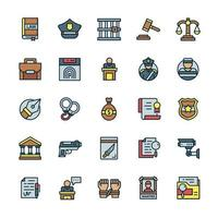 Set of Justice icons with outline color style. vector