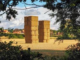 Dos altos pajar en un campo en skipwith North Yorkshire, Inglaterra foto