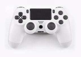 Joystick gaming controller isolated on white background , Video game console developed Interactive Entertainment photo