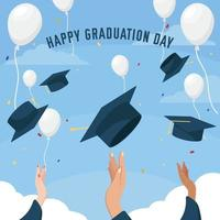 Throwing Hat Graduation Background vector