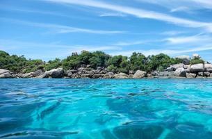 Beautiful clear wave blue sea photo