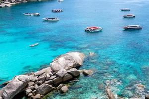 Similan bay sailing rock island in andaman sea photo