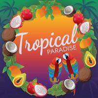 frutas tropicales y aves guacamayo y ambiente de playa al atardecer vector