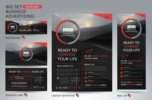 big set template for business advertising. Brochure, leaflet template. Cover book presentation portfolio. vector