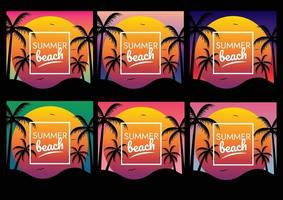 holiday sunset beach party poster vector