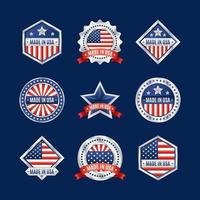 Made in USA Logo Set with Silver Frame vector