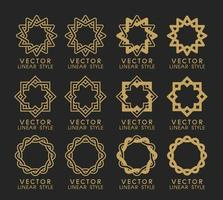 Vector set of linear design elements, logo design templates and mono line badges for packaging