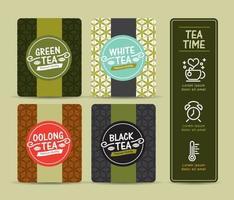 vector conjunto de plantillas de empaquetado de té, logotipo, etiqueta, pancarta, póster, identidad, marca. diseño elegante para té negro - té verde - té blanco - té oolong