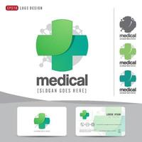 logo design medical healthcare or hospital and business card template, clean and modern pattern vector
