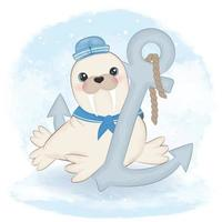 Cute walrus sailor and anchor cartoon arctic animal watercolor illustration vector