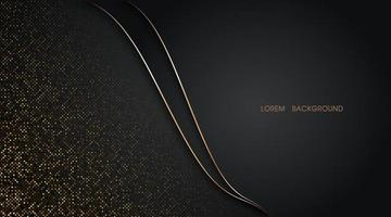 Abstract golden glitter halftone and line curve on dark background vector