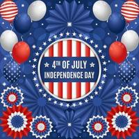 4th of July Independence Day Festivity Concept with Balloons and Paper Ornaments Composition vector