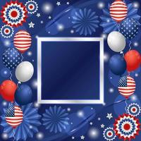 4th of July Independence Day Festivity Background with Balloons and Paper Ornaments Composition vector