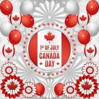 Canada Day Festivity Concept with Balloons and Paper Ornaments Composition vector