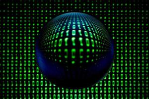 A blurry binary code background with a lens ball photo