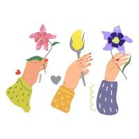 Beauty hands holding flowers Hand drawn illustration Flat design Greeting concept vector