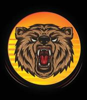 LOGO BEAR HEAD ILLUSTRATION WITH ROAR FULL COLOR FOR T SHIRT DESIGN, angry bear mascot vector