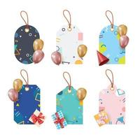 Set of Birthday Gift Tag Template vector
