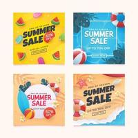 Set of Summer Sale Discount For Social Media vector