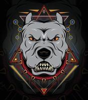 plantilla de diseño de emblema de bulldog. Bulldog en collar con pinchos sobre fondo negro grunge. vector