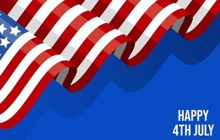 4th July America Flag Background vector
