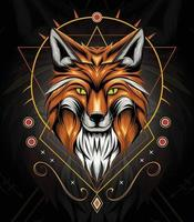 vector fox animal face with Celtic ornament background. Elegant design for t shirt, clothing, apparel