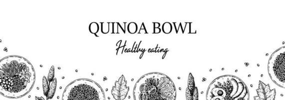 Hand drawn quinoa bowl horizontal design. Vector illustration in sketch style.