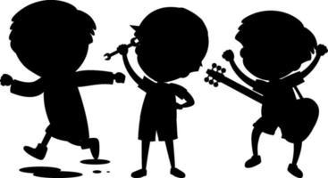 Set of kids silhouette cartoon character vector