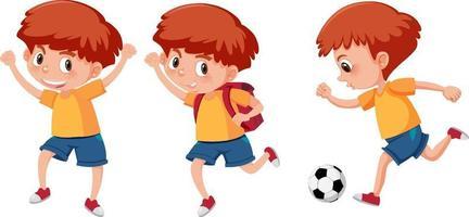 conjunto de un personaje de dibujos animados de niño haciendo diferentes actividades vector