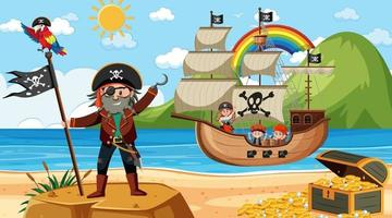 Beach at daytime scene with pirate kids cartoon character on the ship vector